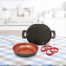 "NuWave 31214 Bundle cast Iron Grill, 9"" pan, 4 Piece Egg Rin"