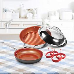 NuWave 31216 Non-Stick Bundle Stell Stainless Steel Grill, 9