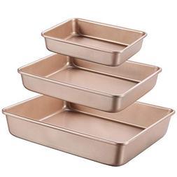 3-Piece Bakeware Nonstick Toaster Oven Baking Sheet Pans for