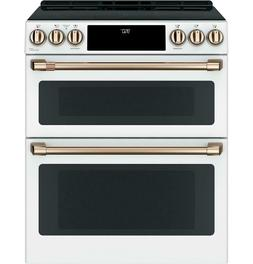 """GE Cafe 30"""" Induction & Convection Double Oven Matte White R"""