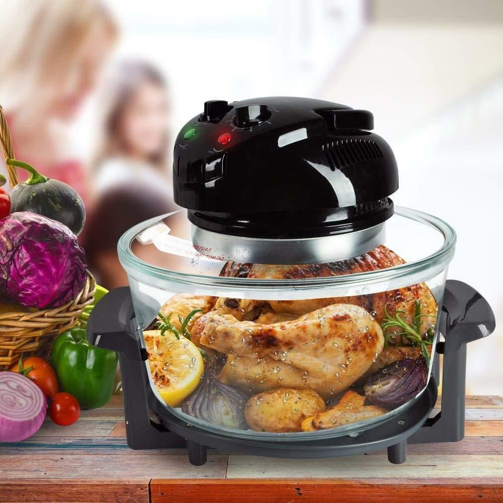 NutriChef Roaster Oven, Steam Quart - Black