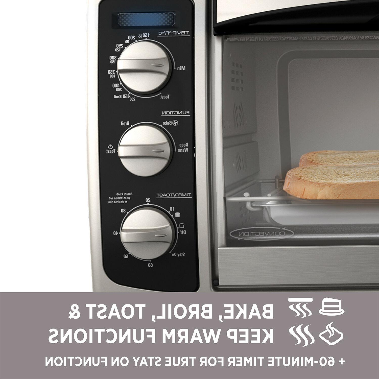 6 Convection Pizza Toaster Countertop Stainless Steel