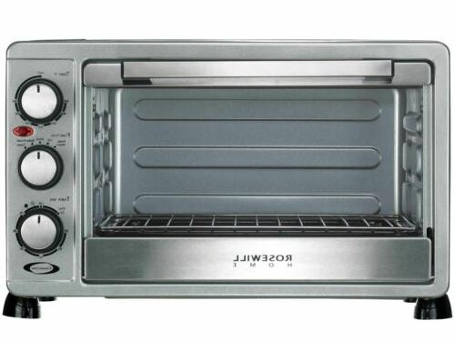 Rosewill 6 Slice Convection Toaster Oven Steel, 12 Inch Pizza with Bakeware Pan RHTO-17001