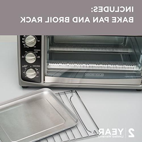 BLACK+DECKER Countertop Includes Bake Pan, Rack & Toasting Steel/Black Toaster Oven