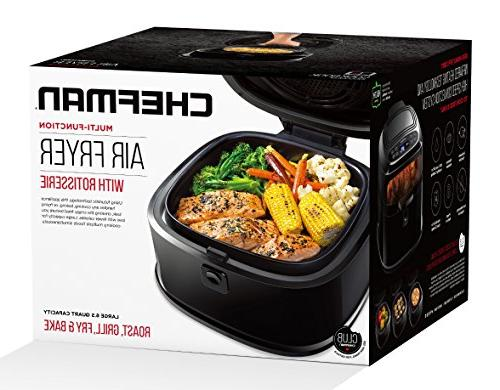 Chefman 6.5 Liter/6.8 Air w/ Function Fried Food, Programmable Air Exterior, & 1200W, Black