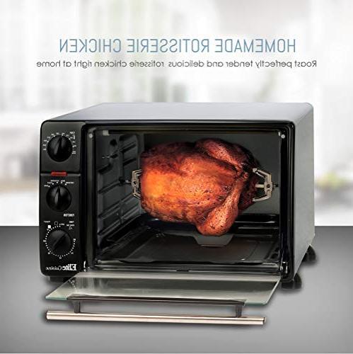 Elite Cuisine Toaster Timer with Stay-On Bake, Toast, Keep Capacity 23 L Black