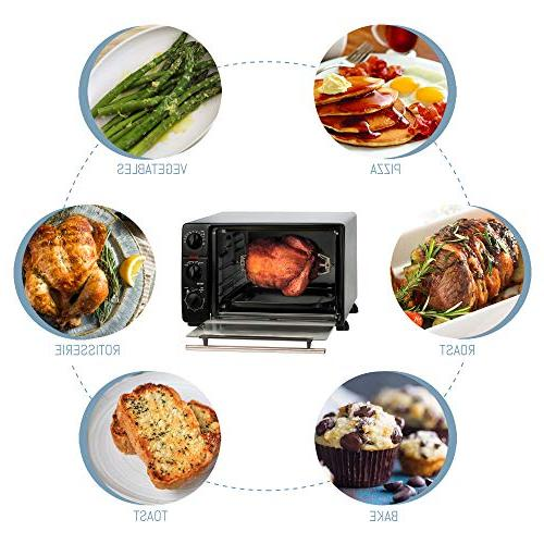 Elite Toaster Oven, with Stay-On Rotisserie, Bake, Grill, Broil, Toast, Capacity