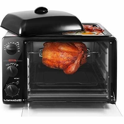 Elite Cuisine ERO-2008S Countertop Toaster Oven with Top Gri