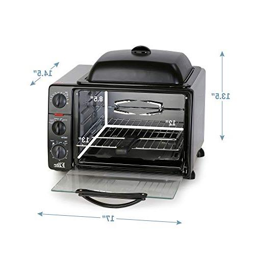 Elite XL Toaster Top Grill/Griddle Convection, Rotisserie, Grill, Broil, Roast, Warm capacity fits 12""