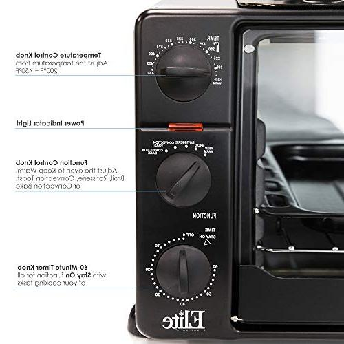 Elite Cuisine XL Toaster Convection, Rotisserie, Bake, Broil, Roast, Toast, Warm Steam, capacity a pizza, Black