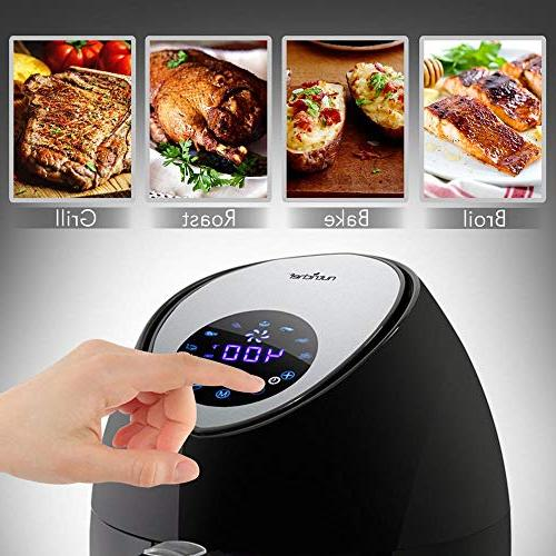 NutriChef Electric Hot Air Fryer Oven Display - Qt Capacity Stainless Steel Multi Pan for Baking,
