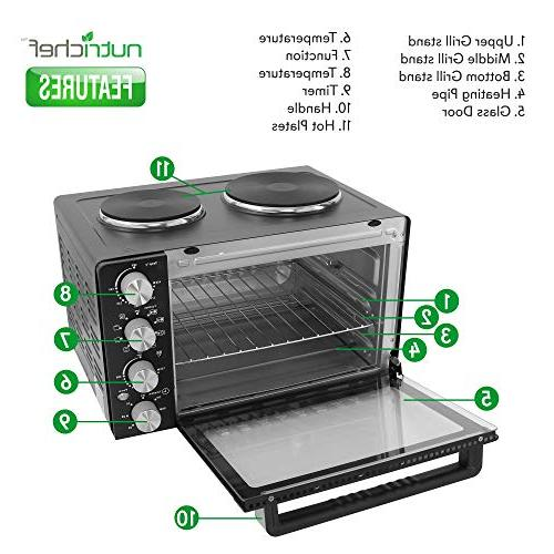 Nutrichef Convection - Electric Countertop Rotisserie Toaster Oven Cooker Food Warming Hot