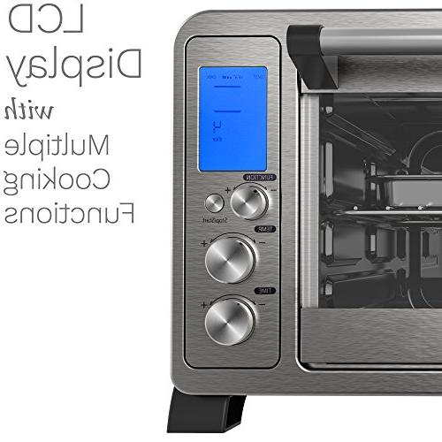 hOmeLabs - Stainless with 10 Cooking Functions Digital Display Broil Rack, Rotisserie Removable Crumb Tray