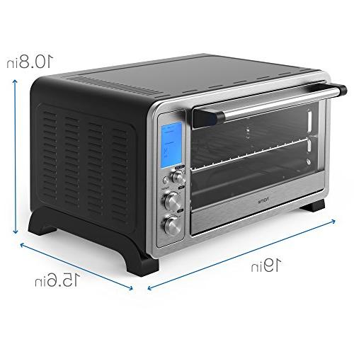 hOmeLabs - Stainless Steel Toaster 10 Digital Broil Bake Rotisserie Crumb