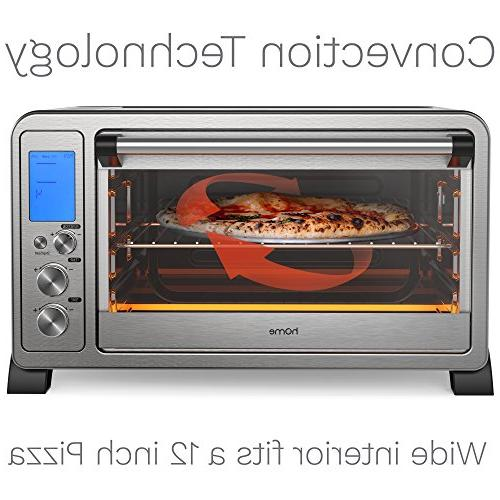 hOmeLabs - Slice Stainless Toaster 10 Digital Broil Rack, Rotisserie Fork and Removable Crumb Tray