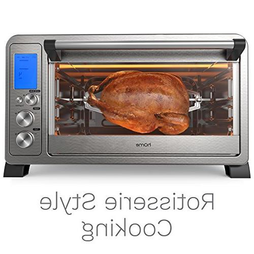 hOmeLabs Convection Toaster Oven - 6 Slice Countertop Stainless Steel 10 Cooking Functions and Digital Display Broil Rotisserie Fork and Crumb