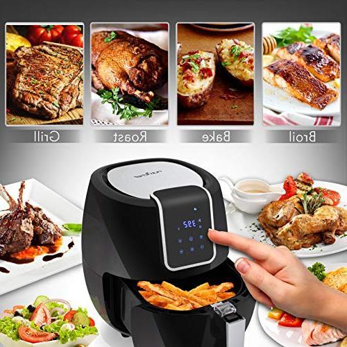 Digital Air Fryer 5.6 Qt XXL Watt Kitchen Stick Fry Basket Digital Time Setting options - NutriChef PKAIRFR65