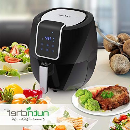 Digital Air Fryer Qt - 1800 Watt Electric Oilless Kitchen Hot Convection Stick Basket Digital Time options -