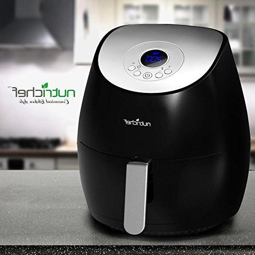 NutriChef Electric Fryer w/ Digital Display - Qt Kitchen Oilless Multi & Healthy