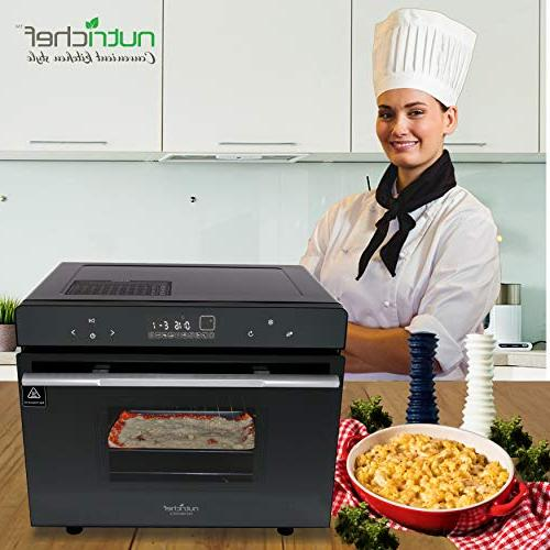 Electric Countertop Oven Smart Compact Kitchen Rotisserie Toaster Pan, Rack Glass - NutriChef
