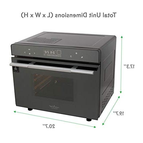 Electric Oven - 1800W Smart Digital Stainless Steel Compact Kitchen Black Toaster Pan, Rack Tray, - NutriChef PKSTMOVN72