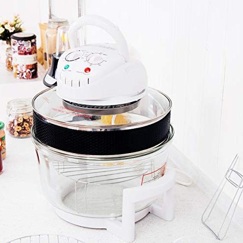 COSTWAY 1300W Infrared Convection Stainless 12.68-18 Quart, Bowl Healthy Cooking,