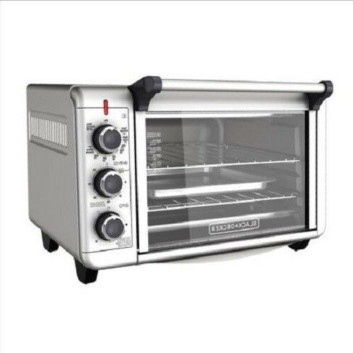 large stainless steel convection countertop toaster oven
