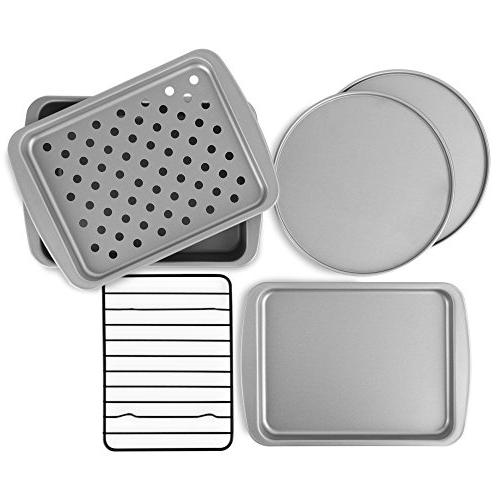 Ovenstuff Nonstick 6piece Toaster Oven Baking Pan Set