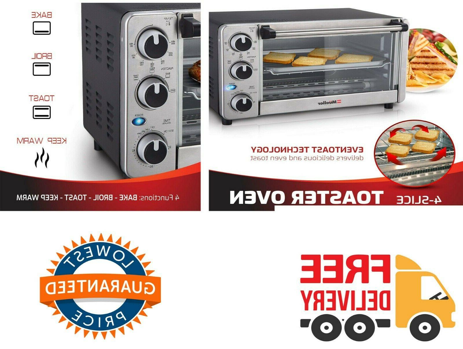toaster oven 4 slice with timer natural