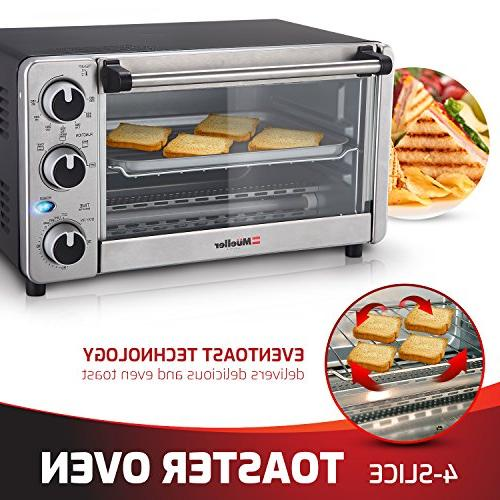 Toaster Multi-function with Timer Bake - Broil Settings, Natural Convection 1100 Watts of Baking Pan by Mueller Austria