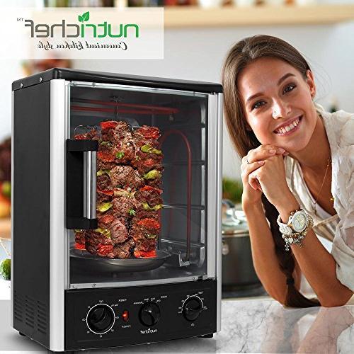 Nutrichef Oven - Oven Turkey Thanksgiving, Roasting Kebab Rack with 2 Shelves - PKRT97