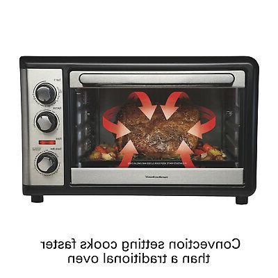Black Extra Large Convection Oven W/ Rotisserie Home Kitchen