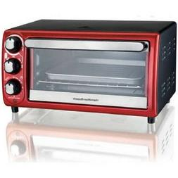 toaster convection broiler oven auto shutoff red