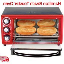 """Hamilton Beach Toaster Oven Red 4 Slice Capacity 9"""" Pizza 15"""